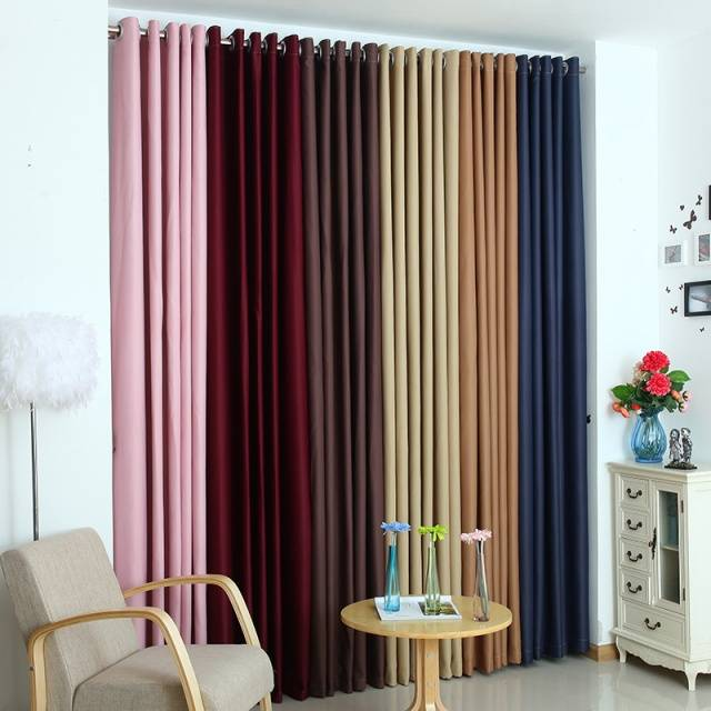 Solid Polyester Ready Made Window shade Blackout Curtains For living Room the Bedroom cortina Window Treatments drapes