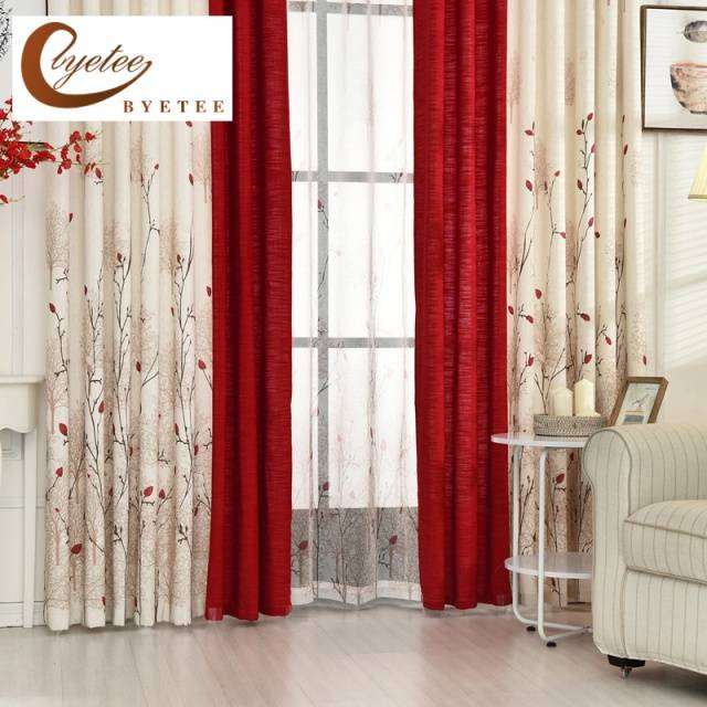 Beige Red Stitching Faux Cotton Linen Curtain
