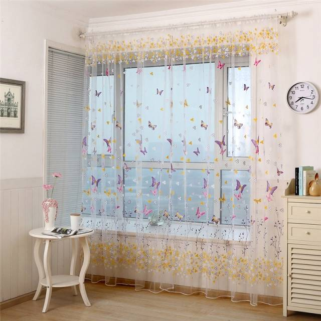 1pcs Butterfly Branches Printed Tulle Curtains for Living Room  Indoor Window Screening Decor Balcony Burnout Voile Curtain