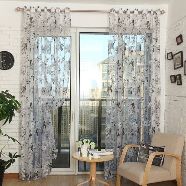 Flower Floral Voile Sheer Tulle Curtains
