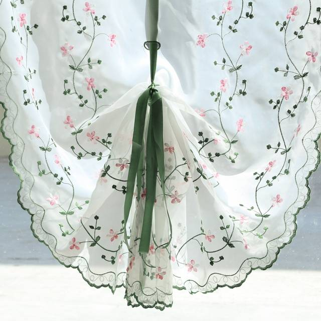 Roman Window Curtain Tulle Embroidered Voile Sheer Fresh Curtains