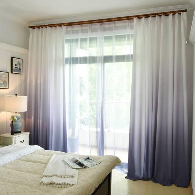 Gradient color blackout curtains