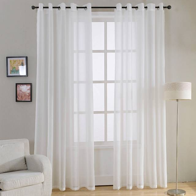 Plain Voile White Sheer Curtains