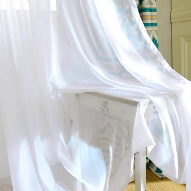 Solid White Tulle Transparent Curtains