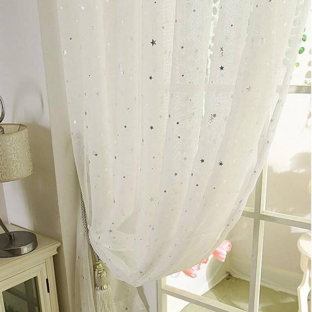 White Curtains Star Gauze screening Window Tulle Curtain