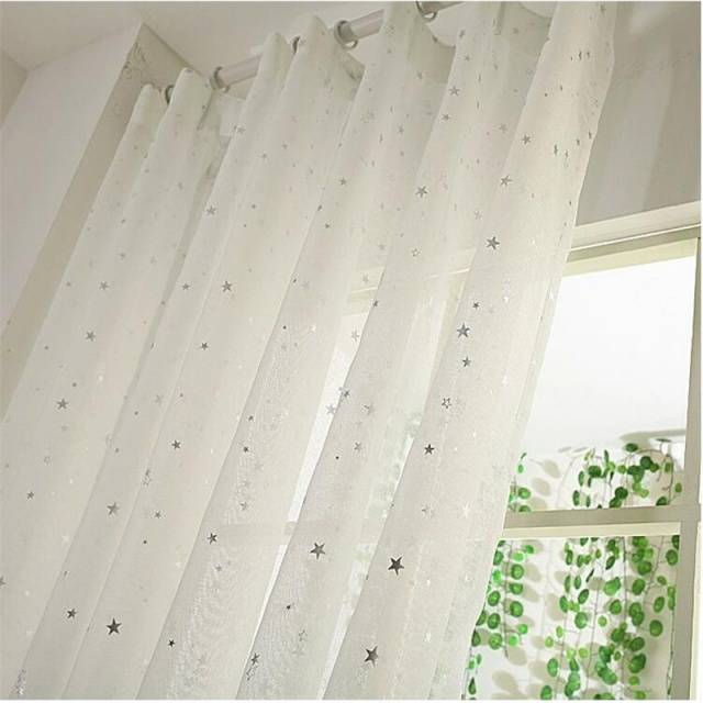 White Curtains Star Gauze screening Window Tulle Curtain Curtains