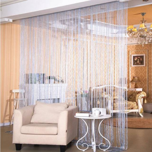 Shiny Tassel Flash Silver Line String Curtain Window Door Divider Sheer Curtains Valance Home Decoration U0978