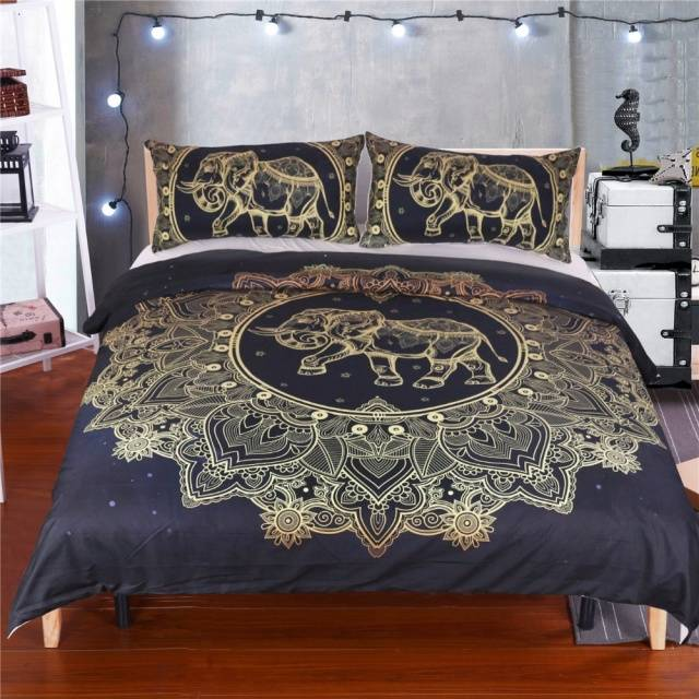Mandala Elephant Duvet Cover With Pillowcase Black Golden Bedding Set Queen Size Boho Bed Set Quilt Cover