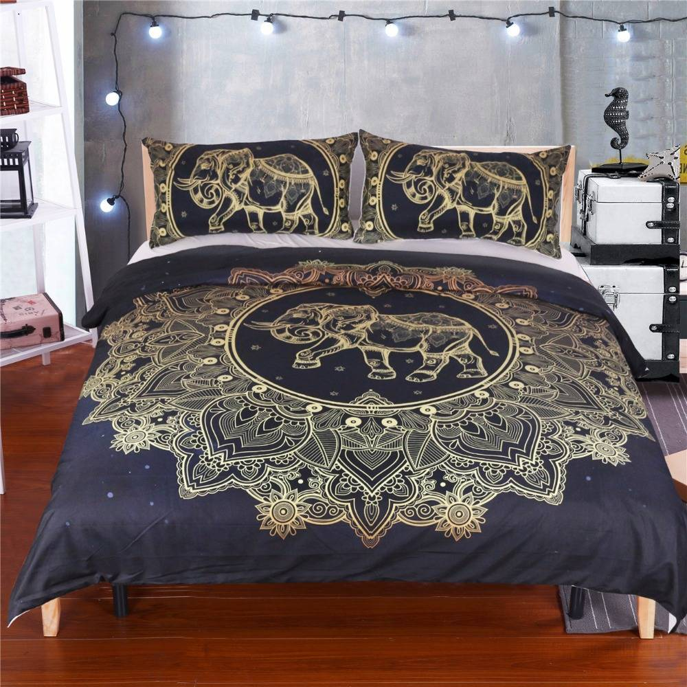 Black and White Queen Bohemian Mandala Cotton Queen Quilt Cover Bedding Set