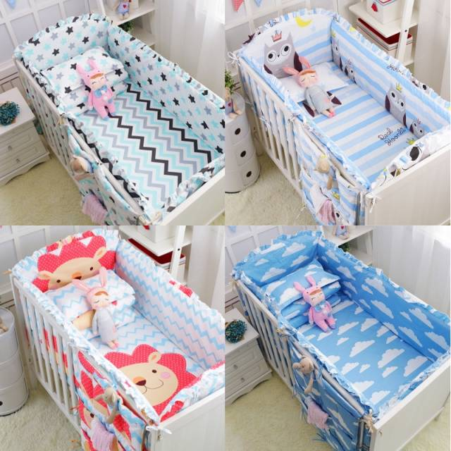 6Pcs Baby crib bedding Bumpers Cartoon Baby Bedding Sets Around  Package Bed Sheets 100%Cotton Thickening Beautiful Baby Bumper