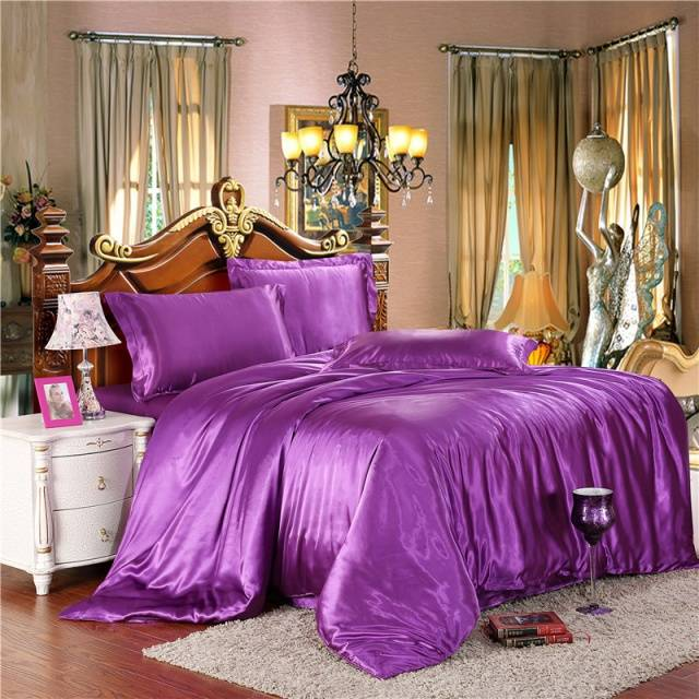 Twin/Full/Queen/King Silk Bedding Quilt/Duvet Cover Sets,Wine Red(Gold,Silver) Satin Silk Bedding Sets