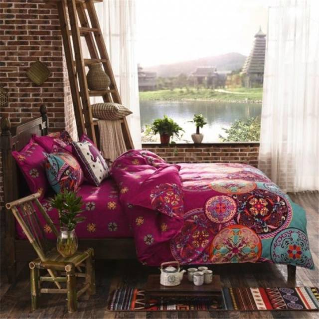 Sicilian Geometry Bedding Set National Style Recto Prune Reversible Duvet Cover Bed Sheet with Pillow Sham Boho Mandala Bedding Set Twin Full Queen King