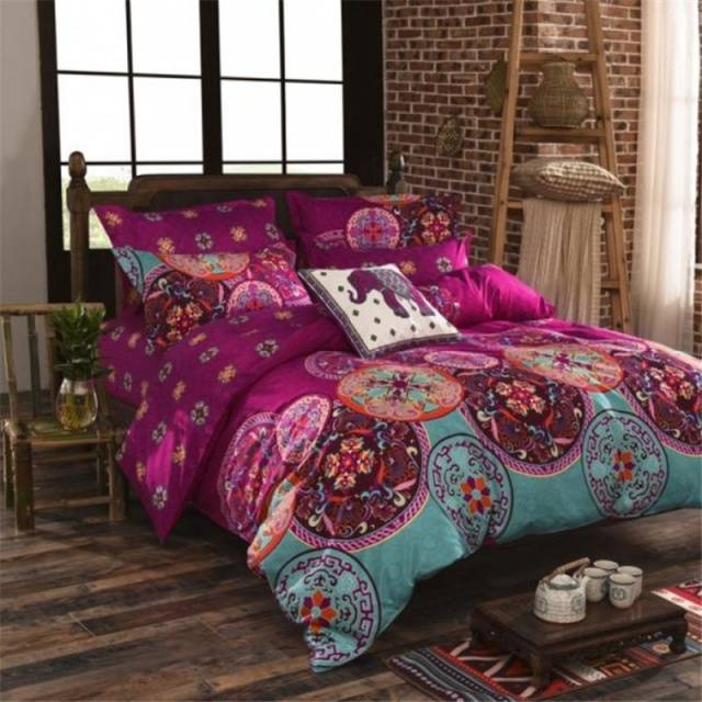 Sicilian Geometry Bedding Set National Style Recto Prune Reversible Duvet Cover Bed Sheet with Pillow Sham Boho Mandala Bedding Set Twin Full Queen Kin