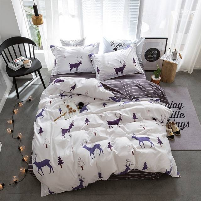 Stylish Cartoon Christmas Elk Striped Star Style 3/4pcs Bedding Set Contain Duvet Cover Bed Sheet Pillowcase Bedclothes