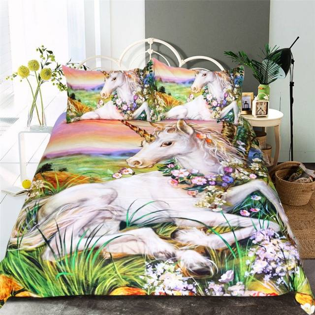 3d Unicorn Bedding Set Queen Size Watercolor Print Bed Set Kids Girl Flower Duvet Cover Colored Dreamlike Bedlinen