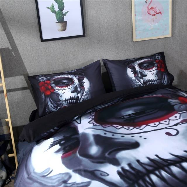 Black Skull Bedding Set Halloween Style with Flower and Skull