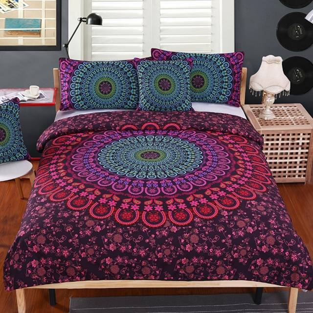 Mandala Bedding Set Queen Soft Bedclothes Twill Bohemian Print Duvet Cover Set with Pillowcases 4pcs Bed Set Home