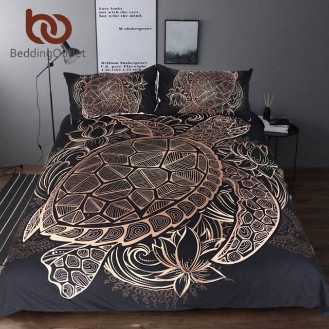 Turtles Bedding Set Duvet Animal Golden Tortoise Bed Cover Set King Sizes Flowers Lotus Home Textiles 3pcs Luxury