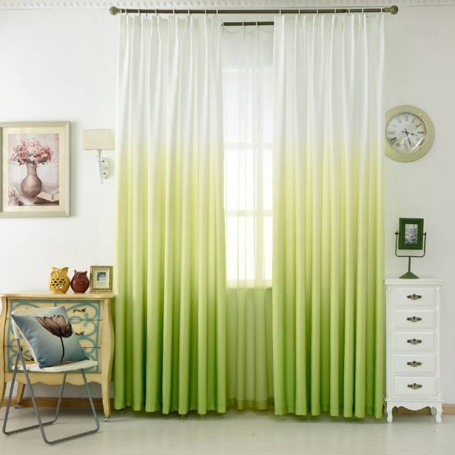 Luxury Grey Curtains For The Living Room Green Gradient Semi-blackout Cloth Drapes For the Bedroom Blue Tulle Cortinas WP185&20