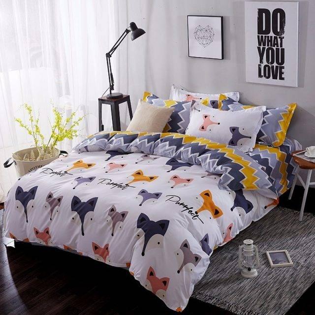 Home Textile Cartoon Fox 3/4pcs Bedding Sets Children's Beddingset Bed Linen Duvet Cover Bed Sheet Pillowcase/bed Set