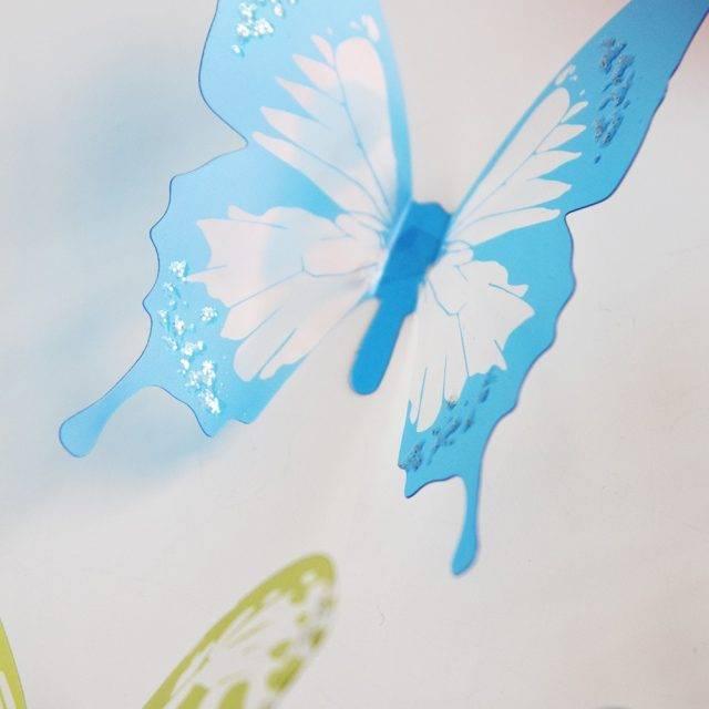 3d Effect Crystal Butterflies Wall Sticker