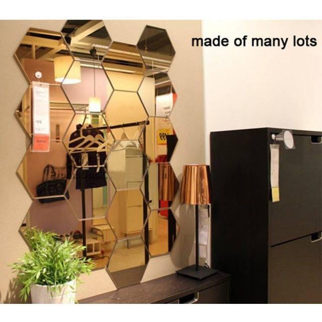 Geometric Hexagon Mirror Wall Sticker DIY Home Decor