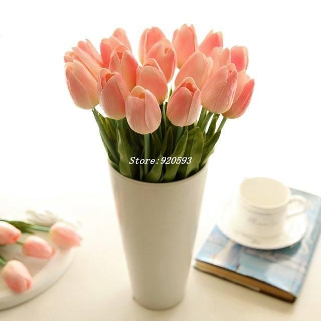 31PCS/LOT pu mini tulip flower real touch wedding flower bouquet artificial silk flowers