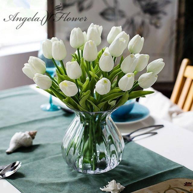 31PCS/LOT pu mini tulip flower real touch wedding flower bouquet artificial silk flowers Home Decor Sale