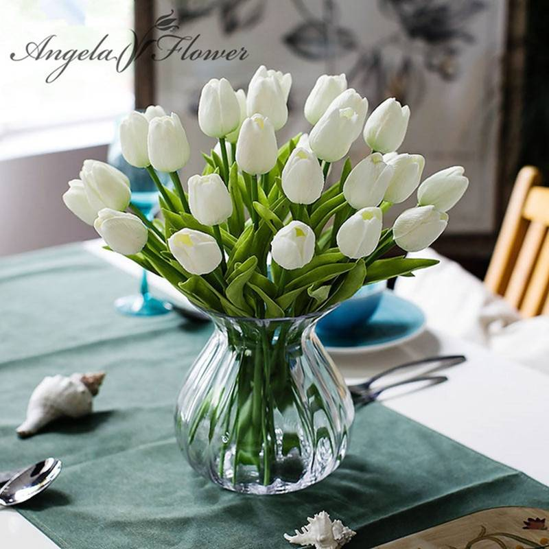 31pcs Lot Pu Mini Tulip Flower Real Touch Wedding Flower Bouquet