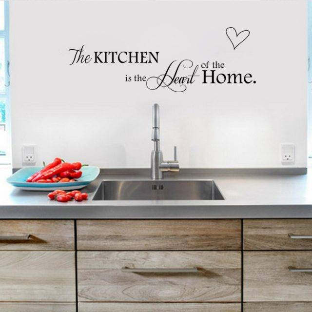 "Letter Pattern Wall Sticker for Kitchen ""Kitchen is Heart of the Home"""