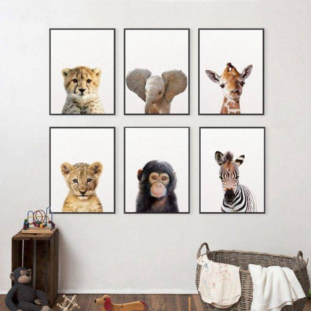 Baby Animals Children's Room Canvas Painting