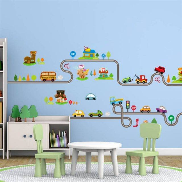 Cute Entertaining Highway Shaped Kid's Wall Sticker