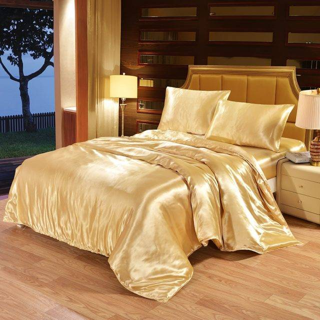 Satin Silk Bedding Set Luxury Queen King Size Bed Set Quilt Duvet Cover Linens And Pillowcase For Single Double Bedclothes Bedding