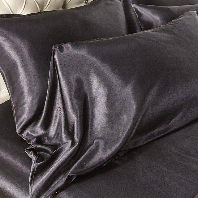 Satin Silk Bedding Set Luxury Queen King Size Bed Set Quilt Duvet Cover Linens And Pillowcase For Single Double Bedclothes