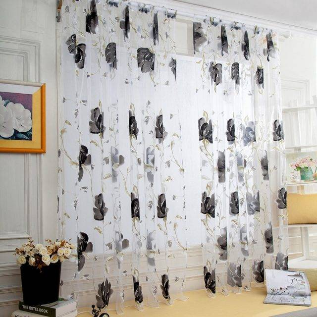 Vines Leaves Tulle Door Window Curtain Drape Panel Sheer Scarf Valances Drapes In Living Room Home Decor Sheer Voile Valances
