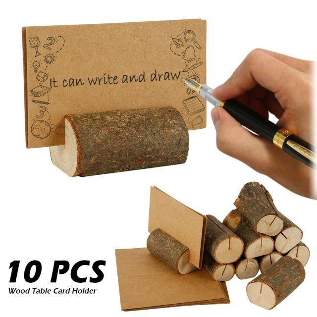 10pcs Wooden Stump Wedding Party Reception Place Wooden Card Holder Stand Number Name Table Menu Picture Photo Clip Card Holder Home Decor Sale Party Decor And Supplies