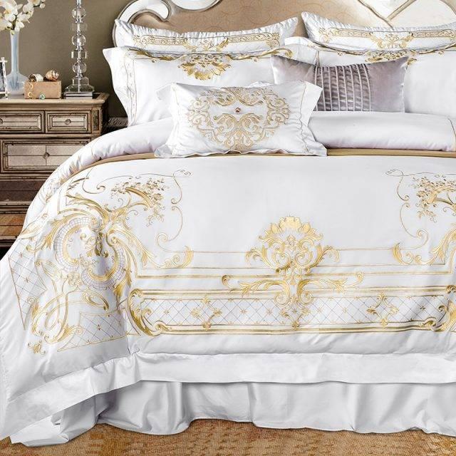 White Egyptian Cotton Bedding set Super King Queen size Bed set Luxury Golden Embroidery Bedding sets Bed sheet set Duvet cover Bedding