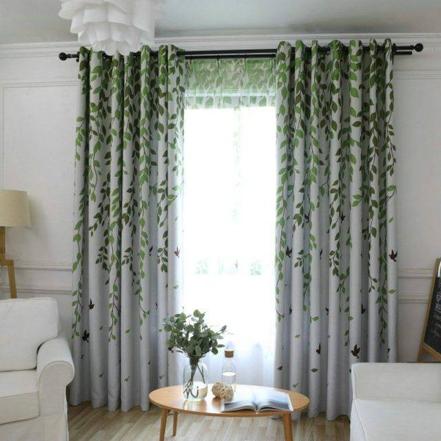 Blackout Curtain For Living Room Leaves Birds Printed Drapes Bedroom Kitchen Balcony Pastoral Fresh Sheer for Window Decoration Curtains